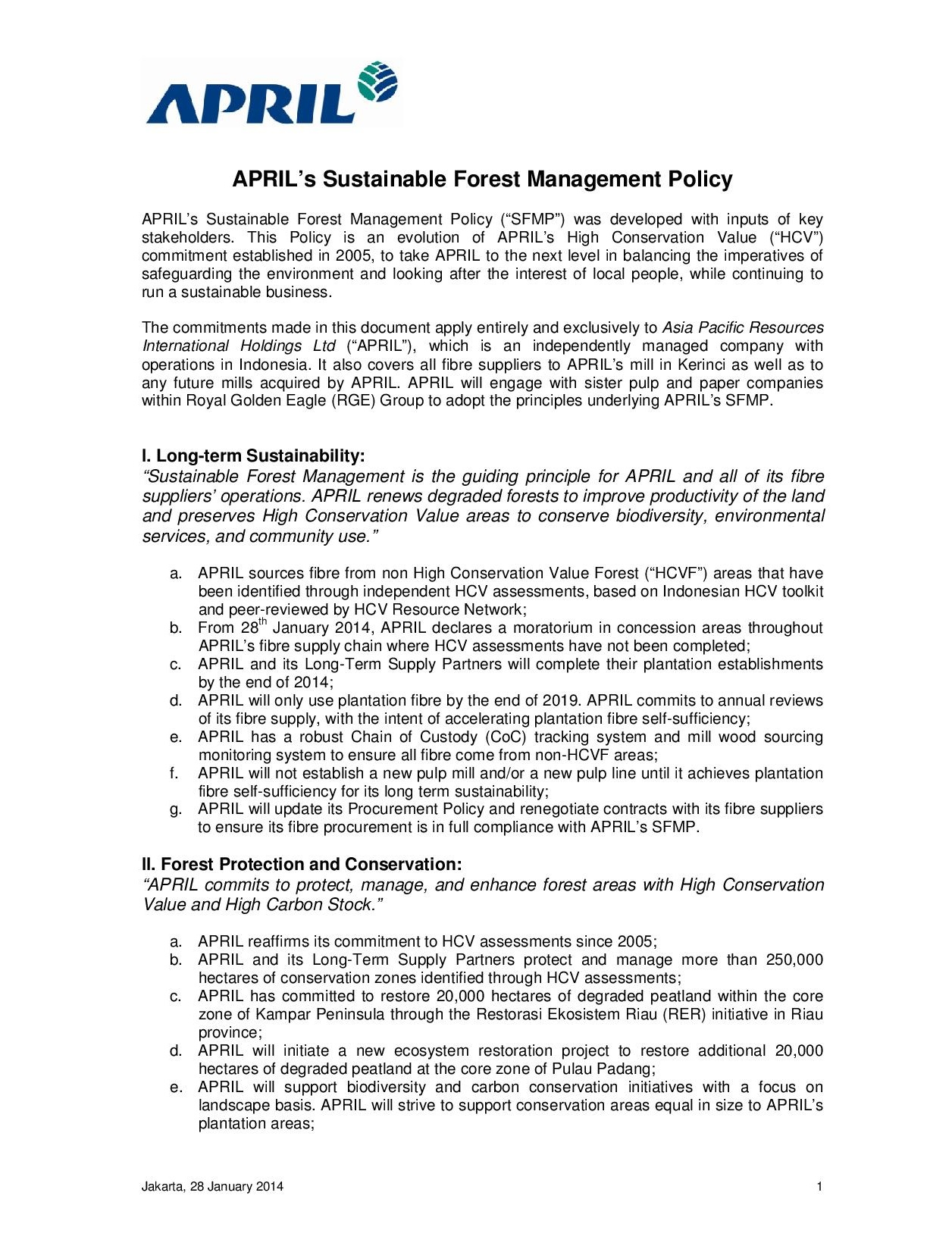 Sustainable Forest Managemet Policy - Part 1
