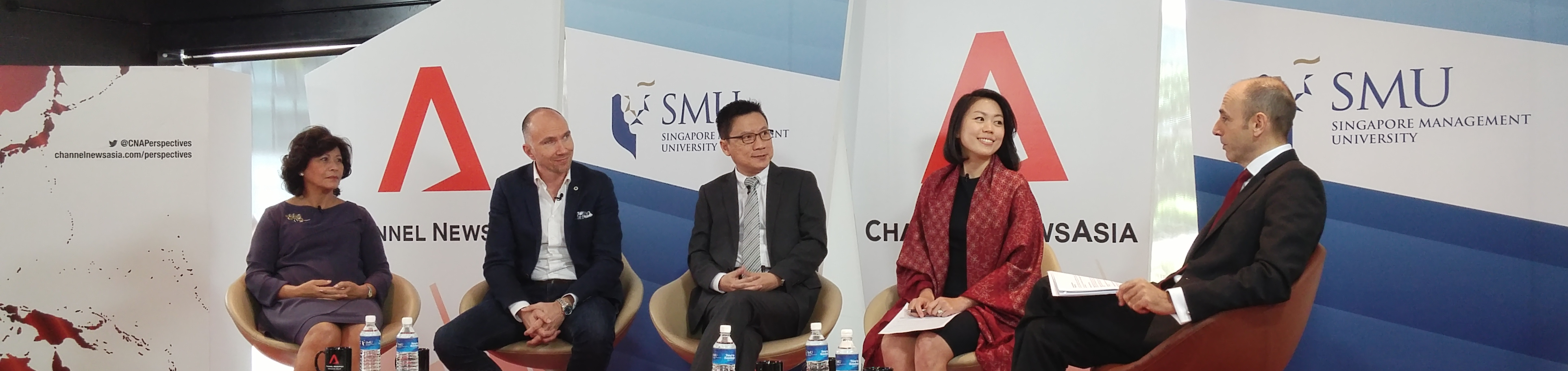 Belinda Tanoto with fellow panellists on CNA's Perspectives, to be aired June 10, 2015.