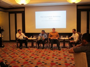 An SDG panel discussion involving (from left) Mr Aritonang, Dr Ali Said, Mr Broderick, and Dr Rosenthal.