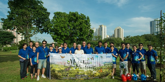 APRIL Group plants trees at Bishan-Ang Mo Kio Park