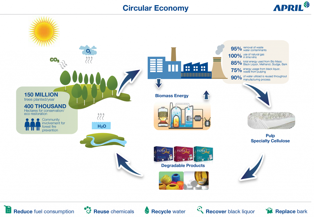 A diagram showing how APRIL Group has circular economy principles ingrained in its thinking and operations