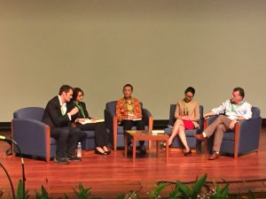 The agro-industry and conservation panel: Rhett Butler (moderator), Janice Lee, Rudi Putra, Lucita Jasmin and Simon Lord.