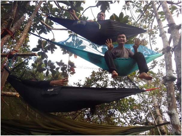 The camera trap team often slung hammocks between the trees because it was easier and more comfortable than sleeping on the ground or on platforms.