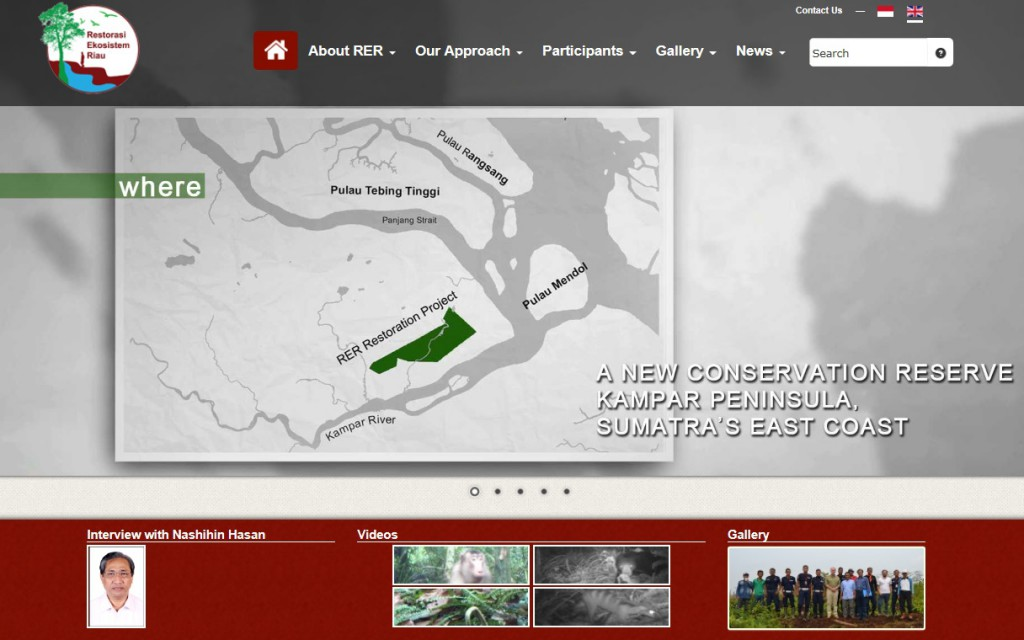 Restorasi Ekosistem Riau (RER) Website at www.rekofrest.og, focusing on forest restoration