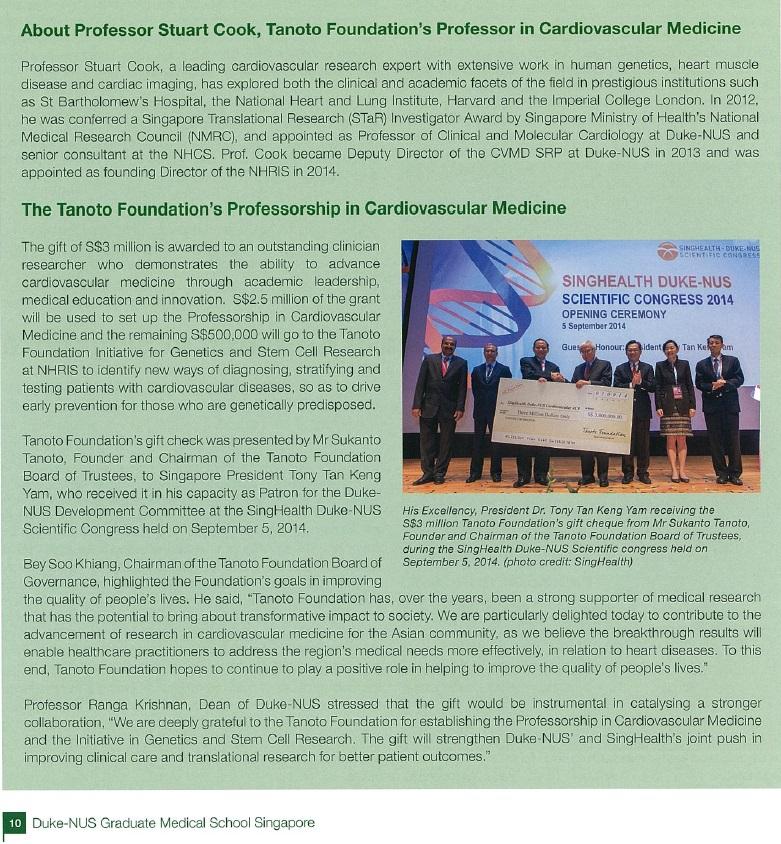 Professor Stuart Cook Featured in Vital Science - Duke NUS Graduate Medical School Singapore Publication (Issue 03.2014)