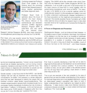 Professor Stuart Cook Featured in Vital Science - Duke NUS Graduate Medical School Singapore Publication (Issue 03.2014)