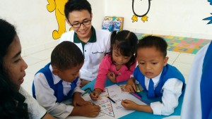 The Project Sukacita team helped children in the childcare centre better understand health and nutrition.