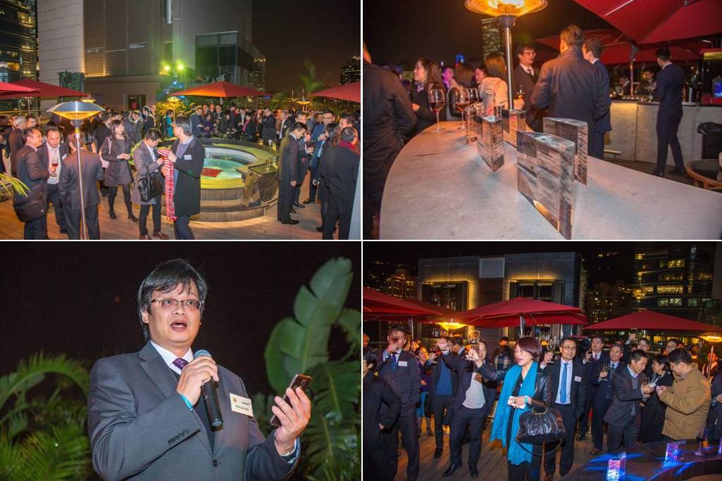 Patrick Ng (bottom left) thanked banking partners in Hong Kong, Dec 17, 2015.
