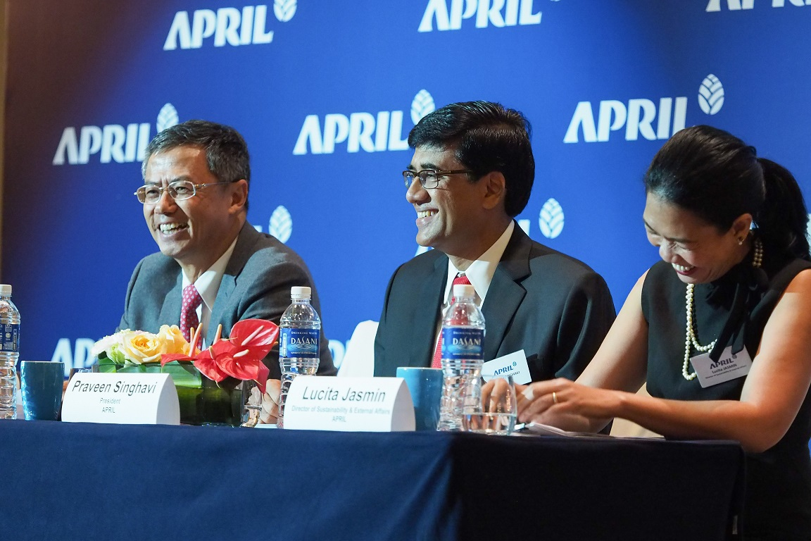APRIL Group's Chairman Bey Soo Khiang, President Praveen Singhavi and Sustainability & External Affairs Director Lucita Jasmin each spoke and update guests on APRIL's sustainable business leadership.