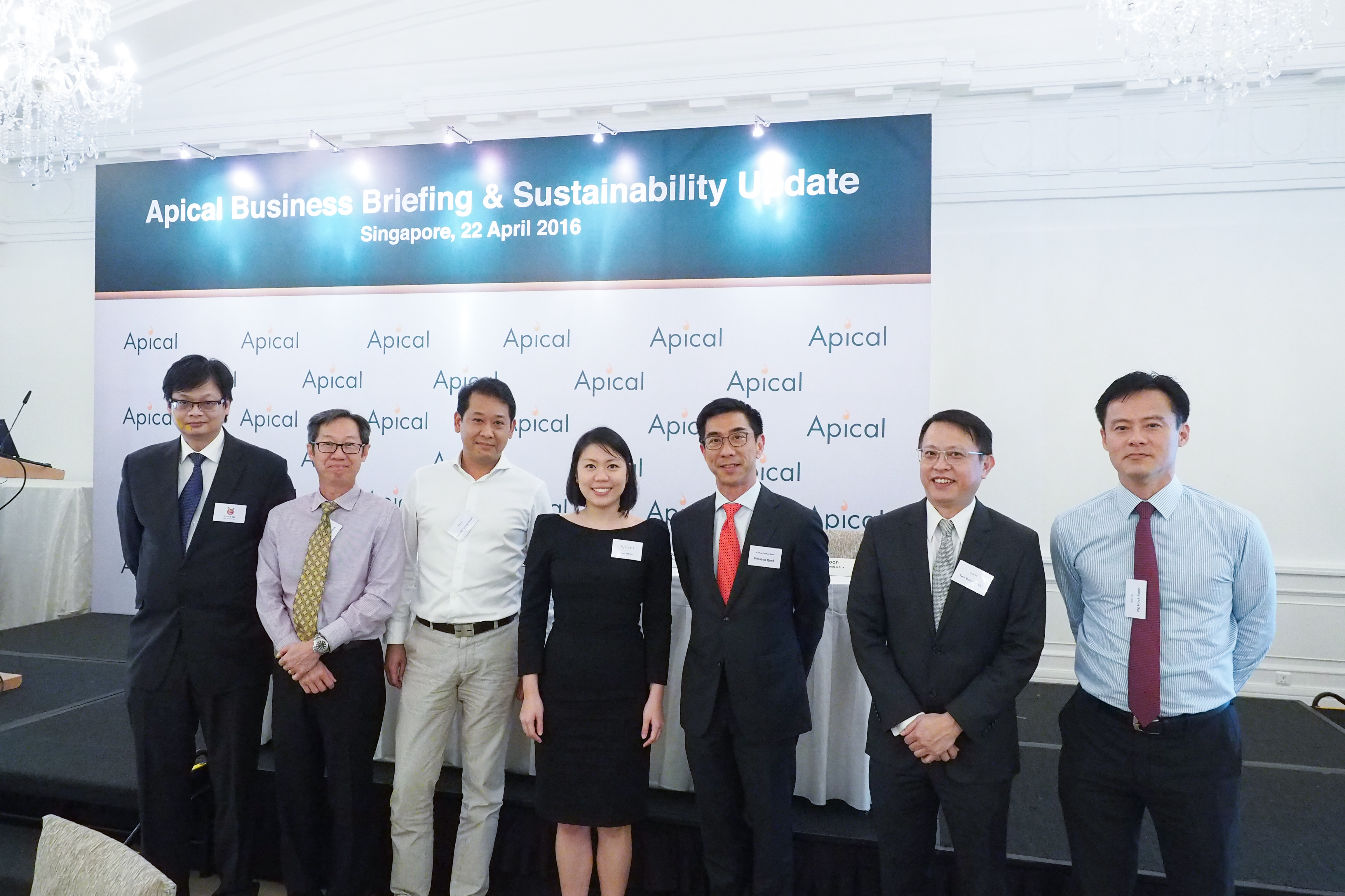 Belinda Tanoto, one of Apical's shareholders, posing with the bankers.