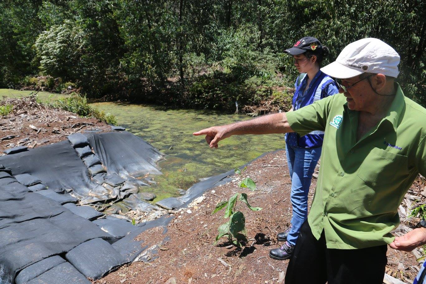 The company constructs dams and bypasses using sandbags. The sandbags are adjusted before the rainy season to maintain an adequate water level in the acacia plantations. APRIL's lowland management expert Dr John Bathgate explains the science.