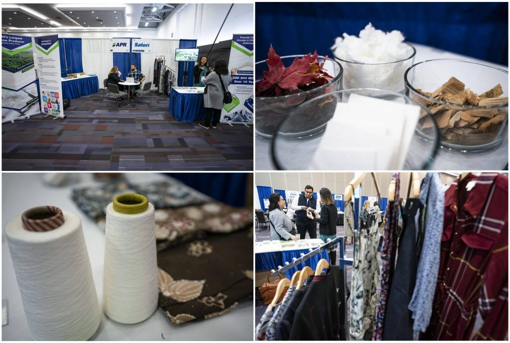 Sateri and APR had a booth at the Textile Sustainability Conference, showcasing viscose as a renewable fabric that is sustainably produced.