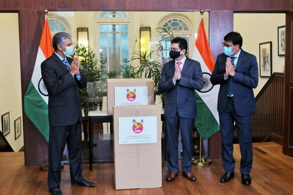 APRIL Group President Praveen Singhavi and PO&G President Ratnesh Bedi met Indian High Commissioner to Singapore His Excellency Mr P. Kumaran at a symbolic handover ceremony to hand over a donation of 76 ventilators to bolster India's life-saving medical infrastructure